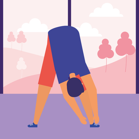 man stretching daily routine morning vector illustration Reklamní fotografie - 126820865