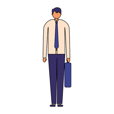businessman with business briefcase white background vector illustration Illustration