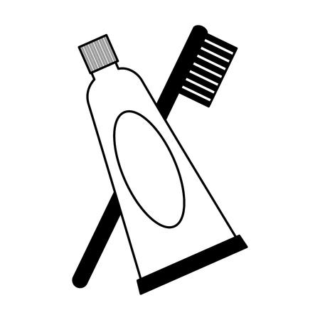 pasta de dientes y cepillo de dientes higyene oral ilustración vectorial