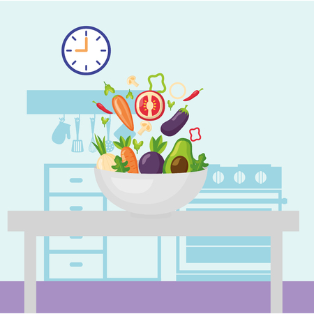 vegetables in the table kitchen vector illustration