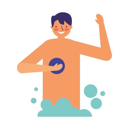 smiling man taking shower with sponge vector illustration Archivio Fotografico - 126820901