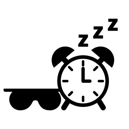 sleep clock and mask white background vector illustration 스톡 콘텐츠 - 113826006