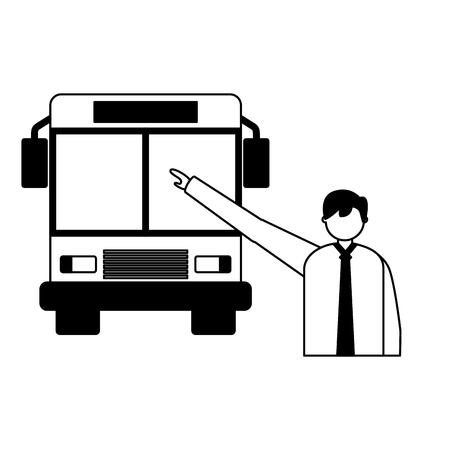 Carácter de empresario tomando ilustración de vector de autobús de transporte