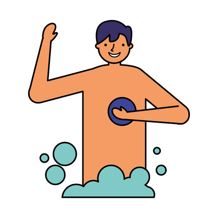 smiling man taking shower with sponge vector illustration