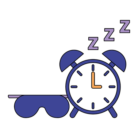 sleep clock and mask white background vector illustration Archivio Fotografico - 126820911