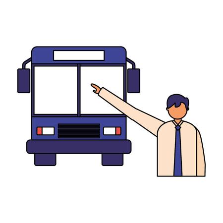 Geschäftsmann Charakter, der Transportbus-Vektorillustration nimmt