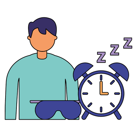 businessman with alarm clock spleep vector illustration