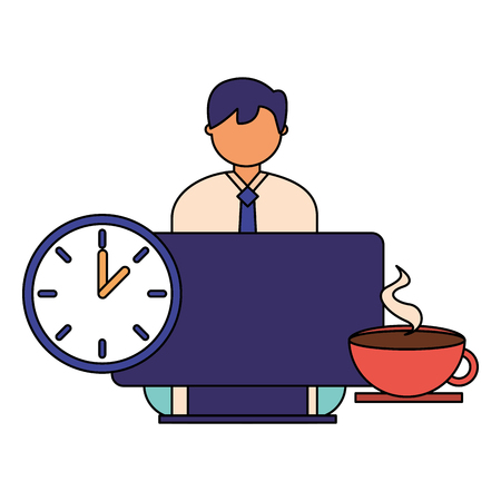 businessman working computer clock and coffee vector illustration