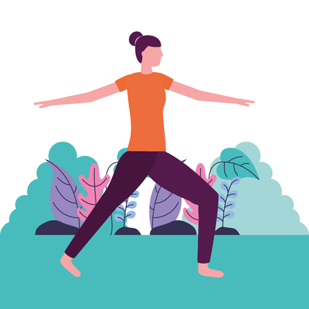 woman yoga activity stretching outdoors vector illustration