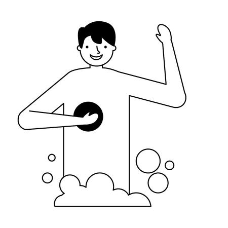 smiling man taking shower with sponge vector illustration Standard-Bild - 126820927