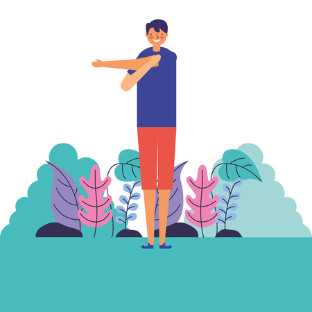 man stretching daily routine morning vector illustration Stock Vector - 126820930