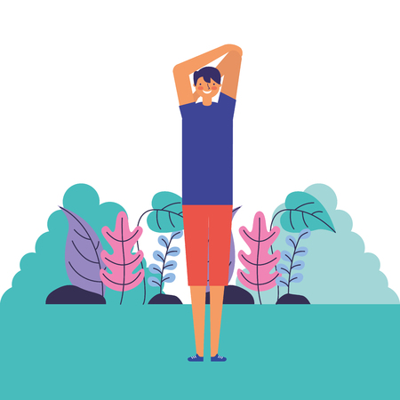 man stretching daily routine morning vector illustration 写真素材 - 126820931