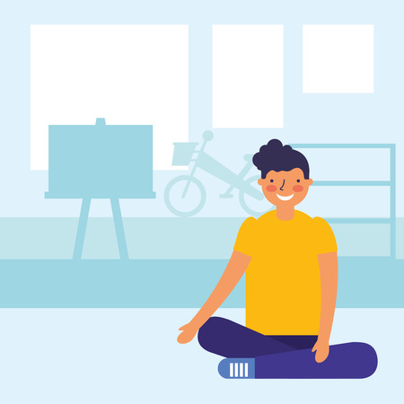 boy teen sitting in the classroom vector illustration 일러스트