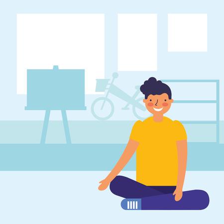 boy teen sitting in the classroom vector illustration Illustration