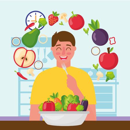 happy man eating in the kitchen vector illustration Standard-Bild - 126820948
