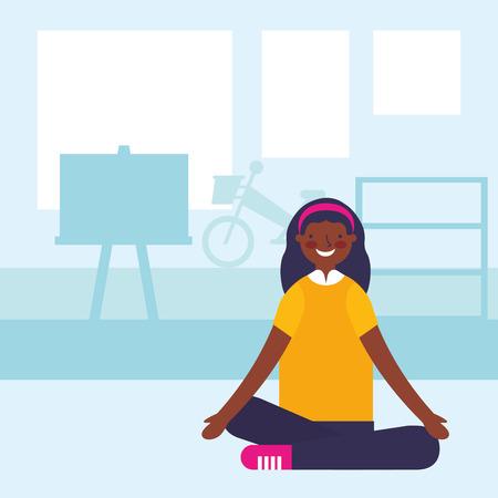 teenage sitting in the classroom vector illustration Illusztráció