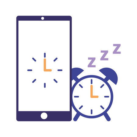 alarm clock mobile sleep daily routine vector illustration