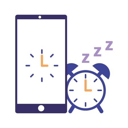 Wecker mobile Schlaf tägliche Routine Vektor-Illustration Vektorgrafik