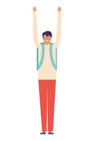 man stretching arms daily routine vector illustration