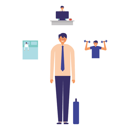 business man exercise work daily routine vector illustration Stock Vector - 113819590