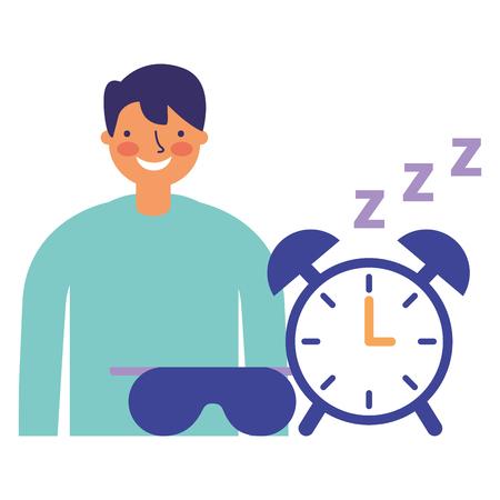 businessman with alarm clock spleep vector illustration