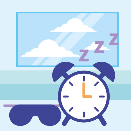 sleep clock and mask white background vector illustration Stock Illustratie