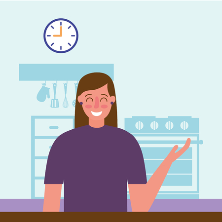 smiling woman in the kitchen vector illustration