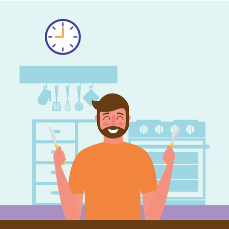smiling man in the kitcken vector illustration