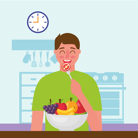 happy man eating in the kitchen vector illustration Standard-Bild - 126820976