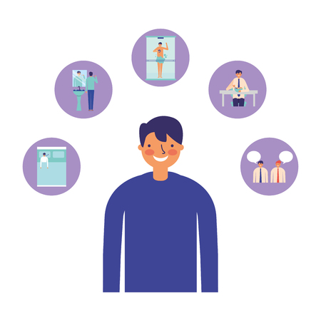 man character daily routine design vector illustration Illustration