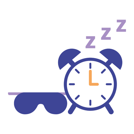 sleep clock and mask white background vector illustration Illustration