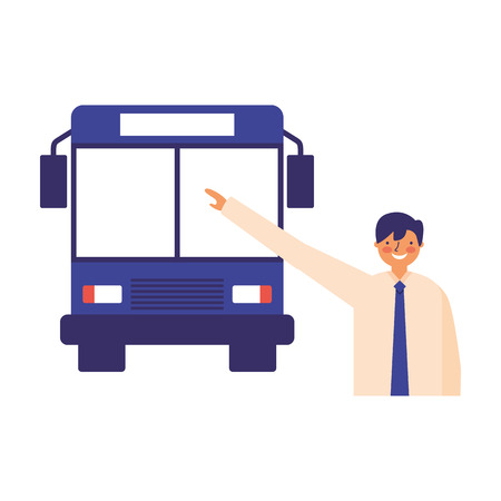 businessman character taking transport bus vector illustration Ilustração