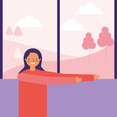 donna che allunga l'illustrazione di vettore di mattina di routine quotidiana