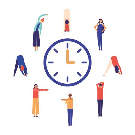 gente estirando tiempo activo descanso ilustración vectorial Ilustración de vector