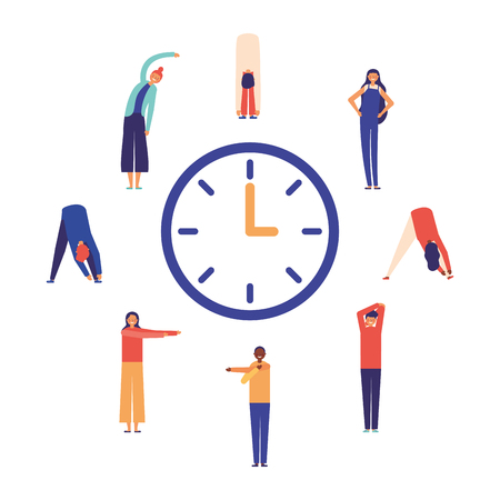 people stretching time active break vector illustration