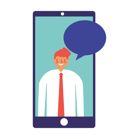 businessman mobile speech bubble chat vector illustration