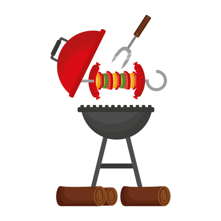 grill barbecue skewer and fork vector illustration Stock Illustratie