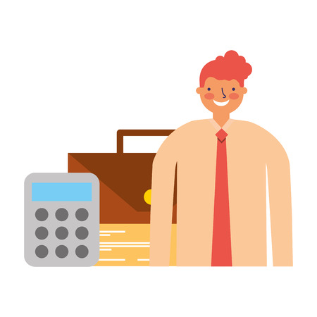 businessman with money calculator and briefcase vector illustration