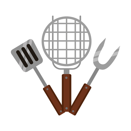 grill barbecue fork spatula on white background vector illustration