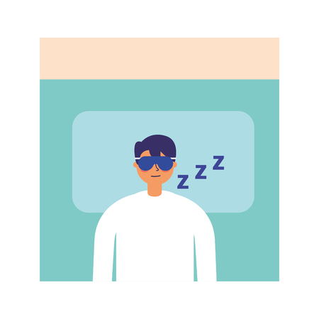 man sleeping in the bed vector illustration