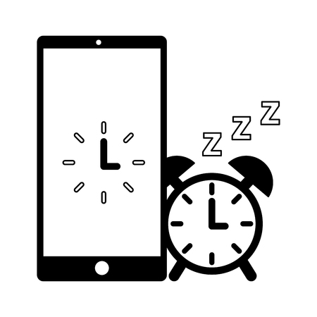 alarm clock mobile sleep daily routine vector illustration Archivio Fotografico - 126820999