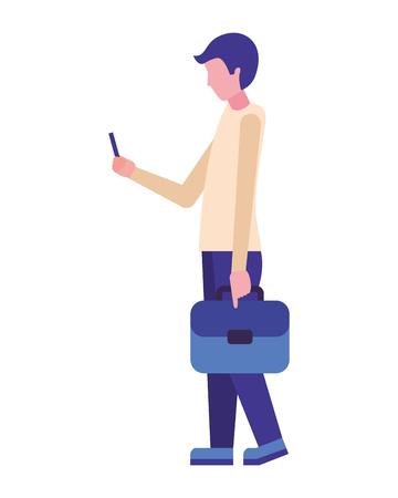 businessman with briefcase using cellphone vector illustration Archivio Fotografico - 113820006