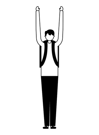 man stretching arms daily routine vector illustration Foto de archivo - 126821004