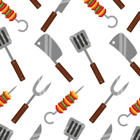 barbecue knife spatula fork and kebab background vector illustration Illustration