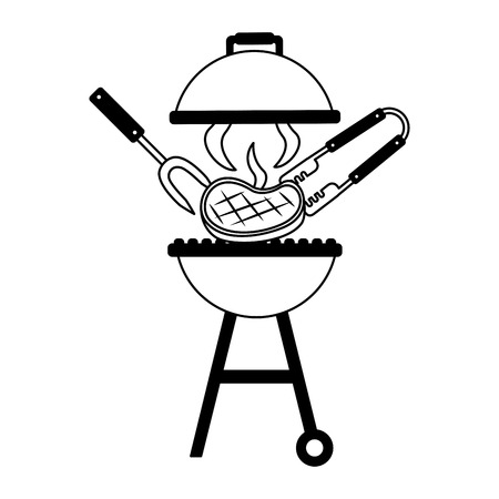 grill barbecue fork tongs and meat on white background vector illustration Stockfoto - 126821009