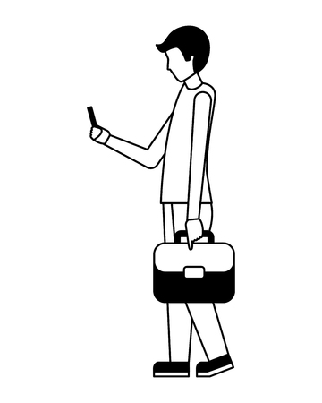 businessman with briefcase using cellphone vector illustration