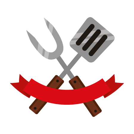 fork and spatula on white background vector illustration