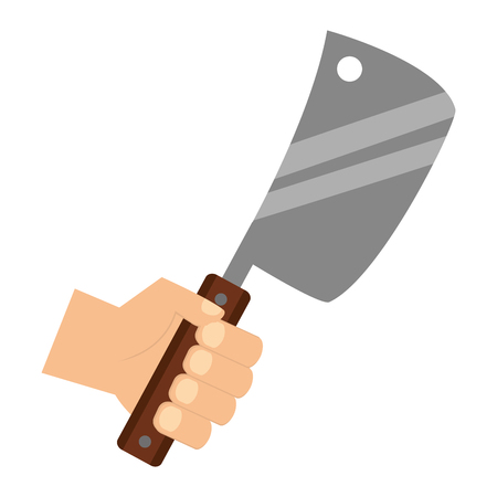 hand holding meat cleaver on white background vector illustration 일러스트