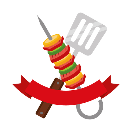 skewer and spatula barbecue ribbon vector illustration Ilustrace