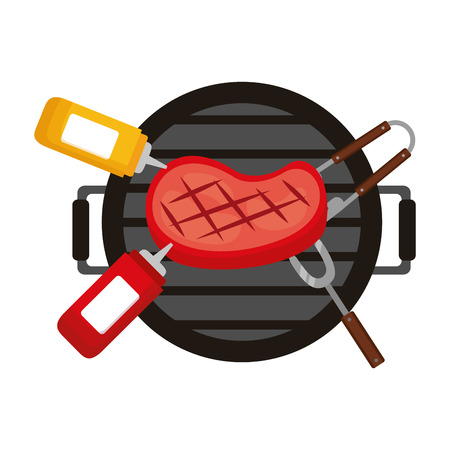 grill barbecue meat steak sauces and fork vector illustration
